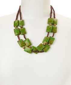 This Green Mosaic Turquoise Multi-Strand Necklace by of earth is perfect, $24 !!  #zulilyfinds