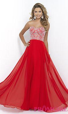Floor Length Strapless Blush Prom Dress at PromGirl.com