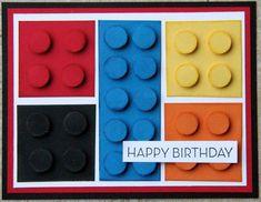 Ladybug Designs: MOJO Monday and Lego! Fantastic card for all Lego fanatics Boy Cards, Kids Cards, Cute Cards, Lego Birthday Cards, Lego Card, Paper Cards, Creative Cards, Greeting Cards Handmade, Scrapbook Cards