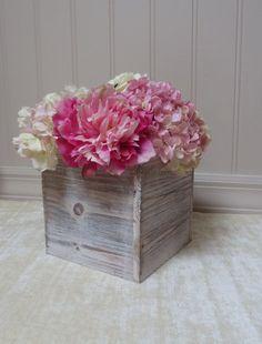 Wood Vase  Planter Box Rustic Wedding Centerpieces Garden Party Flower Box Beach Decor