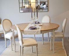Table à manger avec allonge 120/160 cm + 4 chaises médaillon PAULINE