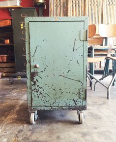 Vintage French Roneo Industrial Cabinet on Wheels — French Industrial, Vintage Industrial Furniture, Eagle Rock, Wood Shelves, French Vintage, Gem, Attitude, Wheels, Mid Century