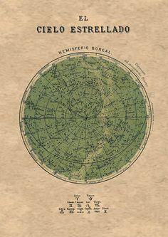 Tabla celestes estrellas del hemisferio norte por TheCuratorsPrints, $22.00