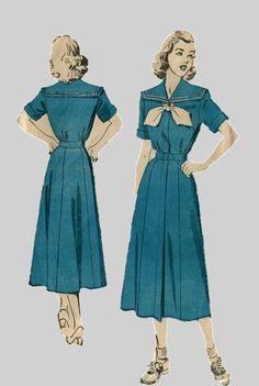 1940s Sailor Dress Pattern Advance 5034 Size 14 by PengyPatterns, $15.00