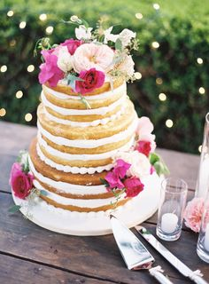 three tier naked take with floral accents | outdoor elegant wedding reception with hints of rustic and pops or pink fuchsia | A Fuchsia-Infused Wedding Done So Right