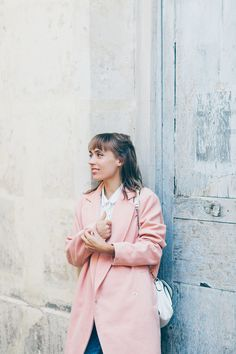 Look manteau rose pastel | SP4NK BLOG