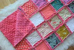 Pink Yellow and White Cat Lady Baby Rag Quilt + Baby Shower Gift + Ready to Ship Pink Yellow, Hot Pink, Puffy Quilt, Baby Rag Quilts, Wood Worker, Stroller Blanket, Yarn Ball, Beautiful Babies, Baby Shower Gifts