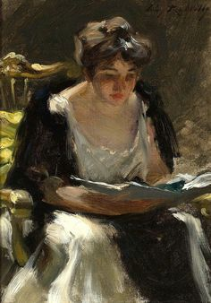 Wiles, Irving Ramsay (American, 1861-1948) - The Reader - 1900