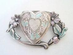 Vintage Brooch Heart Locket Pin by EraAntiquesandFinds on Etsy
