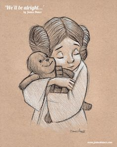 'We'll Be Alright' (Star Wars / Wookiee The Chew - Charcoal) Another Penny / Leia portrait
