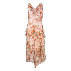Vintage 20s Peach Floral Tiered Silk Chiffon Dress – THE WAY WE WORE