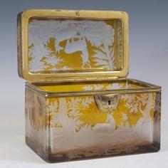 Lot #286: Bohemian Amber Crystal Cut to Clear Box