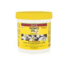 Crème Anti-casse Revitalisante Sans Rinçage - Monoi Oil Anti-Breakage - ORS A l'Huile de Monoï. Aux Omégas 3 & 6 ainsi que des antioxydants. Permet de  réduire la perte de protéines pour des cheveux plus forts. Pour cheveux naturels ou défrisés.