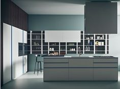 Lacquered kitchen with island TWEET   Composition 01
