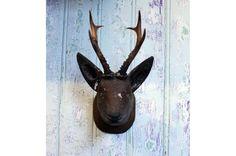 Antique Wooden Deer Head - Wildschut