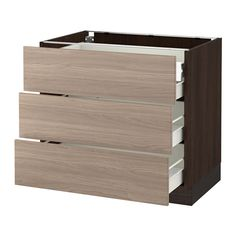 "SEKTION Base cabinet w/3 fronts & 4 drawers - wood effect brown, Brokhult walnut effect light gray, 36x24x30 "", Fö - IKEA"