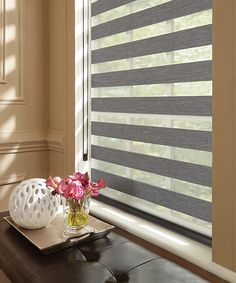 Graber Blinds Layered Shades with Continuous-Loop Lift: Bernina, Shale 4602 Nice Blinds Blinds For Windows Living Rooms, Curtains With Blinds, Mini Blinds, Sheer Shades, Shades Blinds, Window Coverings, Window Treatments, Interior Decorating Tips, Interior Design