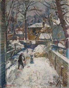 Chelsea Garden under Snow (The Black Spider) by Kenneth Green    Date painted: 1942