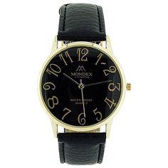 Mondex London Ladies Black Dial Gold Tone Case Black PU Strap Watch MDX14