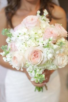 Bridal Bouquet - I would like the colors to be reversed and for the roses to be peonies. Maybe put some jewels or pearls in the bouquet. White Wedding Bouquets, Bride Bouquets, Floral Wedding, Wedding Colors, Wedding Flowers, Trendy Wedding, Stock Wedding Bouquet, Bridesmaid Bouquet, Bridesmaids