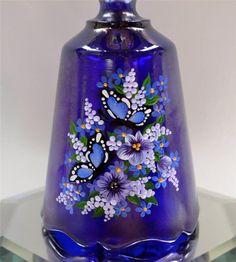 Fenton BELL Cobalt Blue Crnvl BUTTERFLIES MUM Swarovski VIOLETS OOAK FREEusaSHIP  | eBay