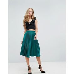 Outrageous Fortune Full Pleated Midi Skirt (€38) ❤ liked on Polyvore featuring skirts, green, ruffled skirt, high waisted knee length skirt, green high waisted skirt, knife-pleated skirts and green pleated skirt