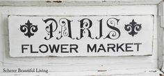 Paris French Plaque Sign Black and White Flower Market Home Decor Wall Hanging French Flowers, White Flowers, Stencils For Wood Signs, Snowman Christmas Ornaments, Paris Decor, Flower Market, Fabric Wallpaper, Wall Signs, Wall Decor