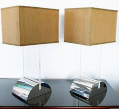 Lighting Mid Century Modern Pair   of Modern Lucite and Chrome Lamps
