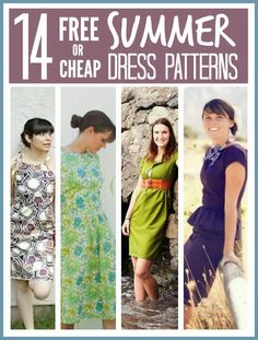 Gorgeous easy to sew FREE or cheap summer dress patterns ... something for everyone even if you are not great at sewing ...