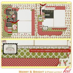 Merry and Bright 2-Page Layout Kit Kit, complete with instructions, by PaisleysandPolkaDots.com for a limited time featured at www.scrapclub...