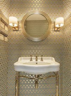 Powder room wallpaper option Cole & Son David Hicks wallpaper + Catchpole & Rye basin by Amber Design Group Hexagon Wallpaper, Trendy Wallpaper, Wallpaper Ideas, Wallpaper Toilet, Wallpaper Designs, Bathroom Wallpaper Vintage, Remove Wallpaper, Pink Wallpaper, Cloakroom Wallpaper
