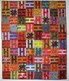 In one of Kaffe's books there was an S quilt but I decided on an H quilt instead and drafted the pattern myself.