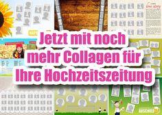 Gratis Vorlagen an Fotocollagen für die Erstellung einer Hochzeitszeitung bei www.diehochzeitsdrucker.de