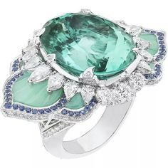 Van Cleef & Arpels Pierres de Caractère Lotus d'Orient ring in white gold, with round and pear-shaped diamonds, round sapphires, fluted chrysoprase and one 24.44ct oval Mozambican Paraiba-like tourmaline.