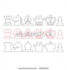 vector illustration of various types of chess pieces. thin line icons set. - stock vector