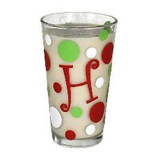 Modern Bubbles Monogrammed Christmas Glass