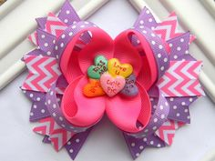 Valentine Hair Bow - Conversation Hearts Boutique Hair Bow - Ready to Ship on Etsy, $8.99