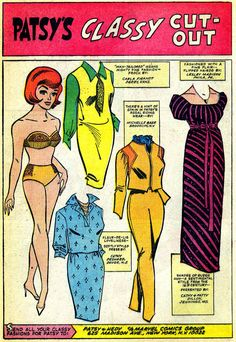 """PATSY's CLASSY CUT-OUT Paper doll pages from Patsy and Hedy #107 (August 1966), art by Stan Goldberg, letters by Sam Rosen  Okay, okay, maybe these aren't """"technically"""" paper dolls and they don't have tabs, but it's my blog and I say it's paper dolls and to heck with it."""