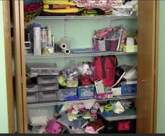 Sewing Closet Before and After! Nice tips for getting that sewing mess in order.