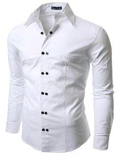 b76da34d077ab Long Sleeve Button-Down Solid Regular Dress Shirts for Men