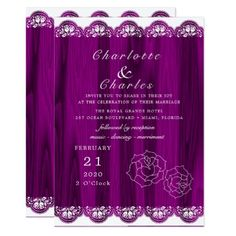 Purple Wood Grain Rustic Floral Elegant Wedding Card - wood wedding style nature diy customize personalize marriage