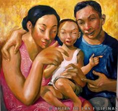 "Emmanuel Garibay. ""Family Picture"". 40 x 40 inches. 2005. acrylic on canvas. The Quintessential Artist-Storyteller Emmanuel Garibay : Philippine Art, Culture and Antiquities"
