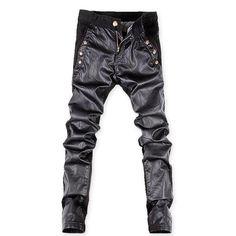 2019 famous brand cotton&PU Spliced pants men, casual men's pants ,black pants men Faux Leather Jeans, Mens Leather Pants, Skinny Leather Pants, Biker Jeans, Denim Pants, Trousers, Black Denim, Black Pants, Casual Jeans