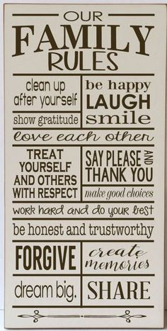 Family Rules, Rules of the Family, Our Family  Rules, Wood Sign, Sign for Family Rules, Home Decor Sign, Family Rules  Sign, Wall Decor Sign aff
