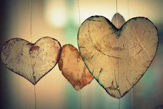 Hanging hearts, close-up