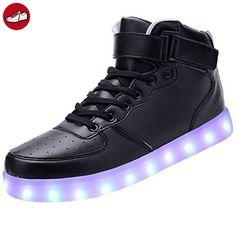 [Present:kleines Handtuch]Schwarz EU 46, Neu weise Blinkende Sport Top Led Schuhe Damen Sneakers Leuchtende Freizeit High J