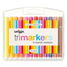 Image for Tri Barrel Markers X 24 from Smiggle - Get Off on Full Price Items Kids Stationery, Stationery Items, Cute School Supplies, Triangle Shape, School Holidays, Creative Kids, Coupon Codes, Holiday Fun, Markers