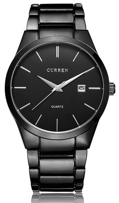 Voeons Men's Watches Classic Black / Silver Steel Band Quartz Analog Wrist Watch  | eBay