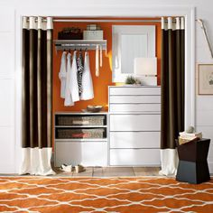Create a New Look for Your Room with These Closet Door Ideas and Design Closet Storage, Closet Organization, Organization Ideas, Storage Ideas, Curtains For Closet Doors, Curtain Closet, Curtain Door, Curtain Panels, Ideas Armario