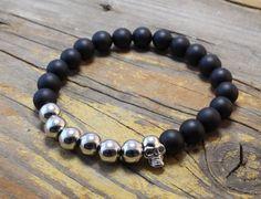 Matte black and chrome silver beaded skull stretchy bracelet made to order yoga bracelet